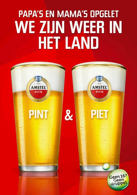 Grote Sinterklaasspel: reclame Amstel Pint en Piet